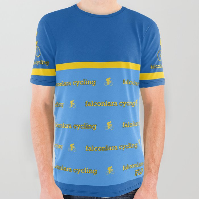 FLD Cycling Blue + Yellow Stripe All Over Graphic Tee