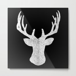 Deer in Black & White Metal Print