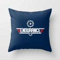 top gun Throw Pillows featuring Endurance Top Gun by Sébi's Ghosts
