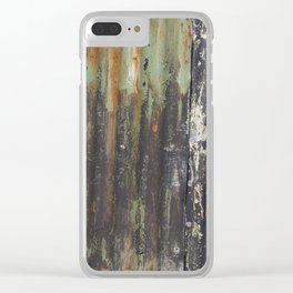 corrugated rusty metal fence paint texture Clear iPhone Case