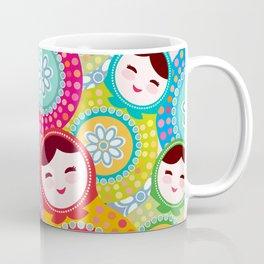 Russian dolls matryoshka, pink blue green colors colorful bright pattern Coffee Mug
