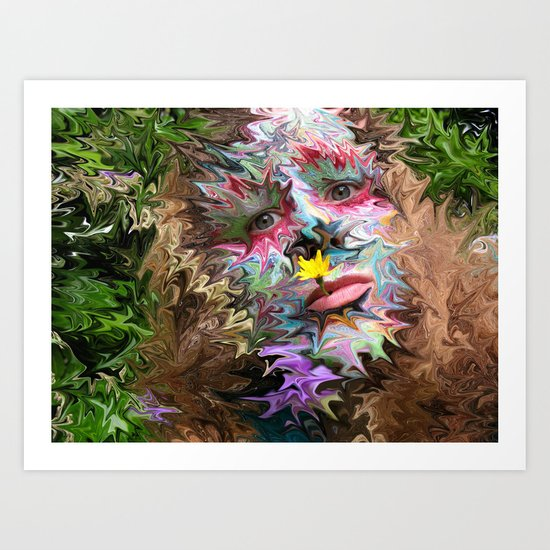 Flower Lady Abstract Art Print
