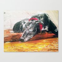 greyhound Canvas Prints featuring Greyhound  by MaryBoots Newman