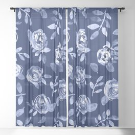 Hand painted navy blue white watercolor floral roses pattern Sheer Curtain