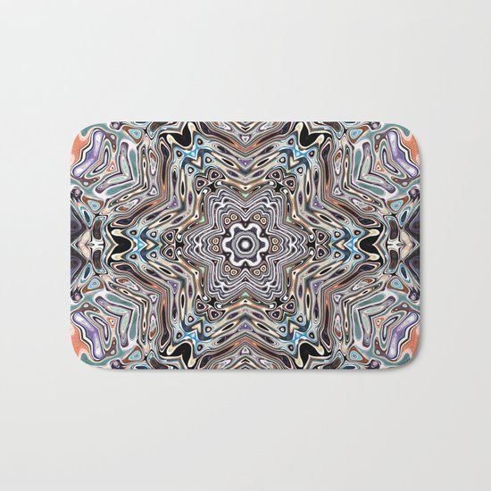 Colorful Kaleidoscopic Abstract Bath Mat