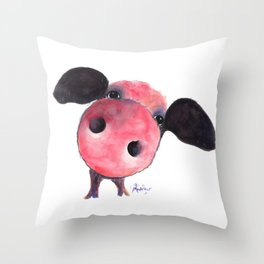 Nosey Pig ' CLARENCE ' by Shirley MacArthur Throw Pillow