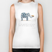 pie Biker Tanks featuring polka dot elephants serving us pie by Marc Johns