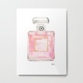 perfume bottle art watercolor print home, fashion, office, wall, dorm decor Metal Print