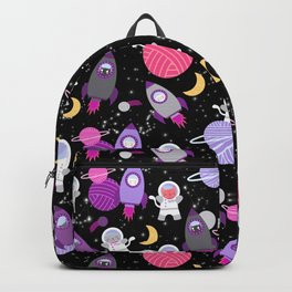 Purple Pink Cat Astronaut Outer Space Pattern Backpack