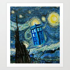 Flying Tardis doctor who starry night iPhone 4 4s 5 5c 6, pillow case, mugs and tshirt Art Print
