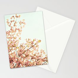 Peach Spring Dogwood Tree Photography, Coral Salmon Mint Aqua Teal Turquoise, Spring Floral Branches Stationery Cards