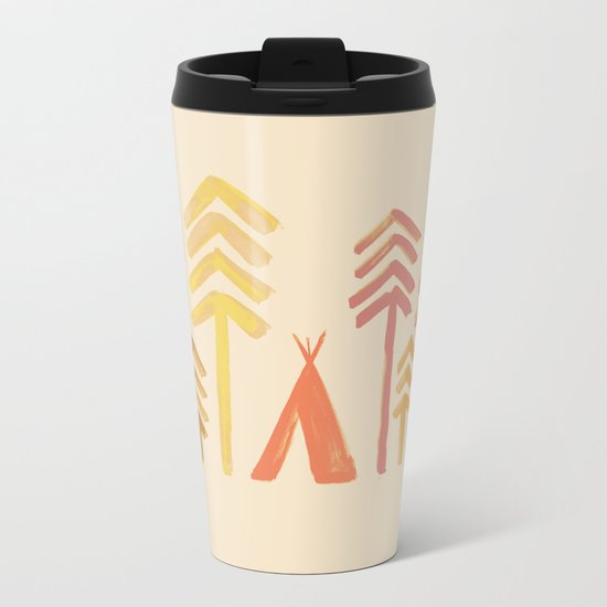 Tepee in the forest Metal Travel Mug