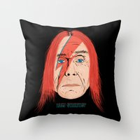 iggy Throw Pillows featuring Iggy Stardust by Chris Piascik