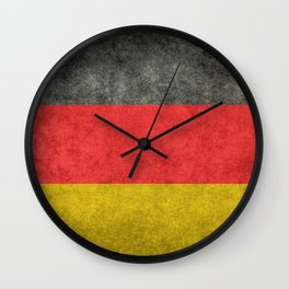 German National flag, Vintage retro patina Wall Clock