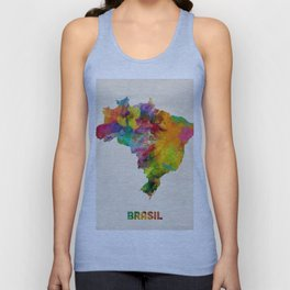 Brazil Watercolor Map Unisex Tank Top