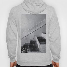 wood stairway with wood background in black and white Hoody