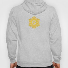 Vintage Scratched Yellow and Red Lotus Flower Yoga Om Hoody