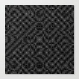 Black and White Random Diagonal Lines Grid Canvas Print