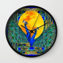 FULL GOLDEN MOON & 2  BLUE PEACOCKS PATTERN ART Wall Clock