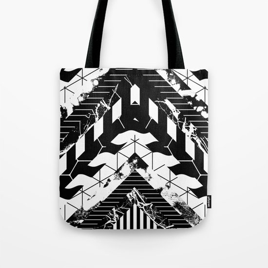 Layered (Black and white, abstract, geometric designs) Tote Bag