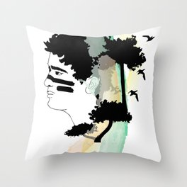 Lost Boy Watercolor Throw Pillow