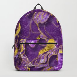 Amethyst  with gold marbled texture Backpack
