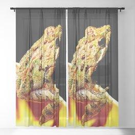 Watercolor Amphibian Cricket Frog Merchants Millpond, Paddles Up Sheer Curtain