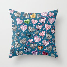 Heart Diamonds are Forever Love Blue Throw Pillow