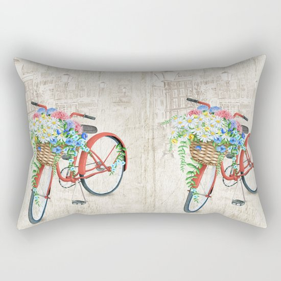 Red bike & white daisy Rectangular Pillow
