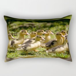 Yellow Muscovy duck ducklings running Rectangular Pillow