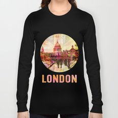 London St. Pauls Cathedral modern illustration typography Long Sleeve T-shirt