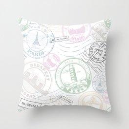 Stamp Travel Throw Pillow