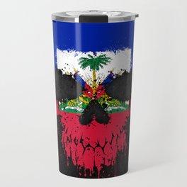 Flag of Haiti on a Chaotic Splatter Skull Travel Mug