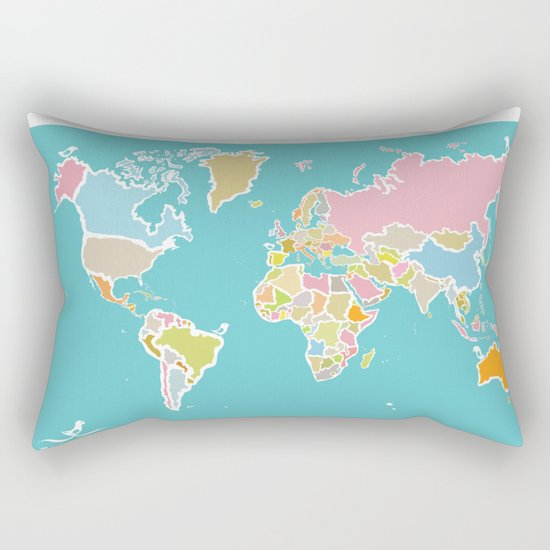 Map Print Rectangular Pillow