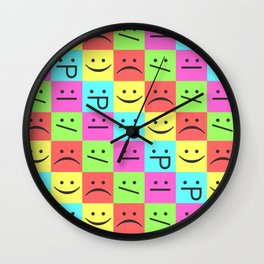 Smiley Chess Board Wall Clock