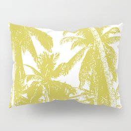 Palm Trees Design in Gold and White Pillow Sham