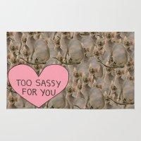 sassy Area & Throw Rugs featuring Sassy Cats by Skrinkladado