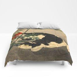 Shotei Takahashi Black & White Cat Tomato Garden Japanese Woodblock Print Comforters