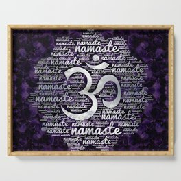 Pearl Namaste Word Art in Lotus with OM symbol on amethyst Serving Tray