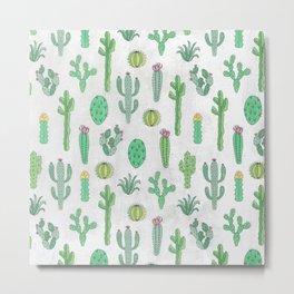 Cactus Pattern White Metal Print