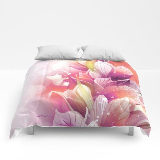 Woman And Flowers By Annie Zeno  Comforters