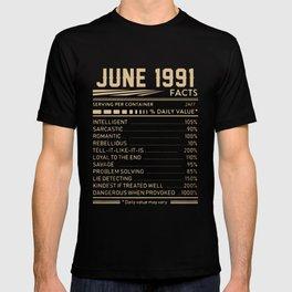 JUNE 1991 birthday t-shirts T-shirt