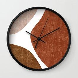 Terracotta Art Print 1 - Terracotta Abstract - Modern, Minimal, Contemporary Abstract - Brown, Beige Wall Clock