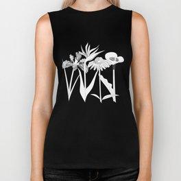 Spring Flowas Bring Girl Powas, Black and White Illustration Biker Tank
