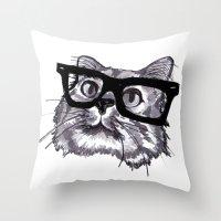 ninja Throw Pillows featuring Ninja by Liz Coffee