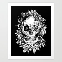 floral skull drawing black and white 2 Art Print