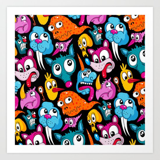 Weird Dudes Pattern Art Print