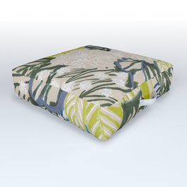 White chrysanthemums -ink floral Outdoor Floor Cushion