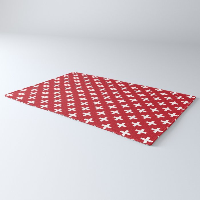 Crosses | Criss Cross | Plus Sign | Hygge | Scandi | Red and White | Rug