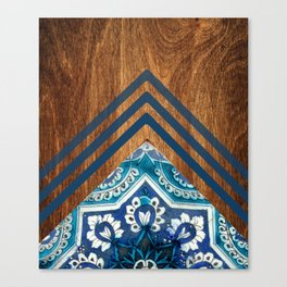 Wood + Moroccan Pattern Canvas Print